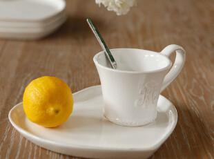 店庆8折/美克美家法式乡村浮雕陶瓷餐具/森女爱心咖啡碟蛋糕碟,盘碟,