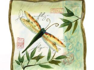 花鸟志 手绘陶瓷釉下彩方盘大号 菜盘 平盘 盘子之蜻蜓,盘碟,