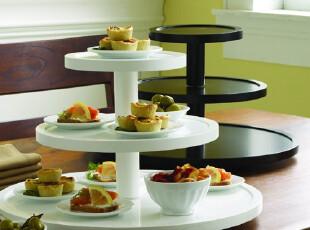 派对必备 实木三层碗碟架 冷餐盘 旋转展示台 工艺摆设,盘碟,