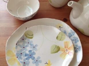 出口订单 外贸出口陶瓷餐具 夏日素雅做旧系列 盘子汤盘碗壶,盘碟,