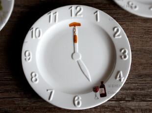 钟碟 为你留住时间 陶瓷西餐盘子7寸半碟子外贸餐具装饰盘 红酒,盘碟,