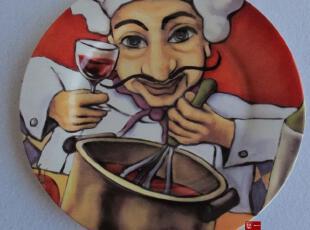 一鸿艺居 陶瓷餐具美国House of Prill莫里斯厨师 彩绘盘装饰盘,盘碟,