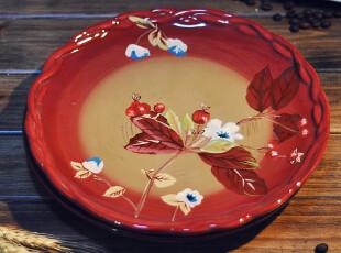 【欧美原单】TRACY彩绘花边海棠花陶盘 果盘 餐盘  礼品 宜家欧式,盘碟,