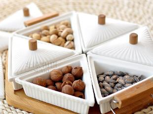 [宜家]北村穗竹托 纯白色陶瓷日式格盘 零食坚果干果带盖拼盘套装,盘碟,