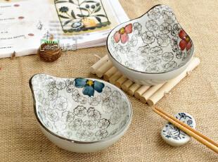 陶瓷青花青釉 陶瓷五瓣梅 沙拉碗 点心零食碗 手绘工艺,碗盆,