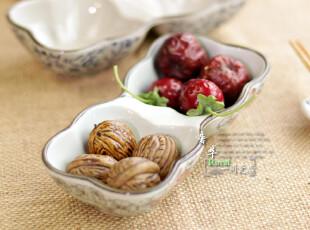 景德镇 陶瓷青花 双连调味碗 蘸酱碗 点心零食碗,碗盆,