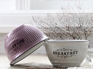 时尚生活必备餐具创意碗甜品碗 花边陶瓷螺纹碗两色入(不含糖果,碗盆,
