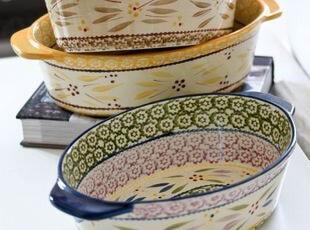 美国名品乡村风椭圆形超大双柄大烤碗 出口,碗盆,