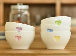 奇居良品 陶瓷饭碗套装 创意微波炉爱心情侣碗 5个入,碗盆,