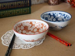 【出口日本精品】和风日式彩陶手绘素花系列面碗米饭碗(礼盒装),碗盆,