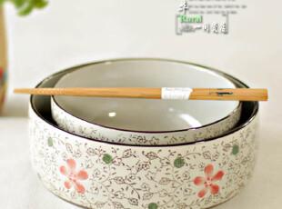 7寸面碗 古色和风系列/古色红花陶瓷餐具/汤碗/面碗/大海碗,碗盆,