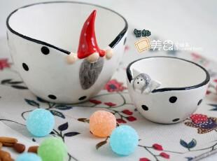 外单出口 圣诞头陶瓷白底黑点面碗套装 汤碗 米饭碗 冰激凌碗,碗盆,