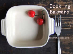 【烘焙家】5.5寸双耳蓝色陶瓷烤碗 焗饭碗 蛋糕碗 松饼碗 水果碗,碗盆,