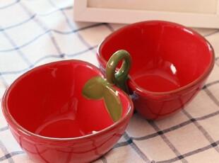 【TAG品牌】手彩 大红苹果 双格 红土 赤陶 红瓷水果碗果篮零食盘,碗盆,