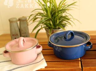 搪瓷双耳碗 儿童碗 宝宝碗 小餐杯 有盖 出口日本 【买二包邮】,碗盆,