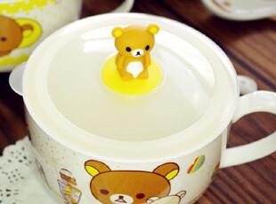 Rilakkuma轻松熊 公仔碗杯陶瓷碗密封保鲜碗汤碗饭碗面碗日式餐具,碗盆,