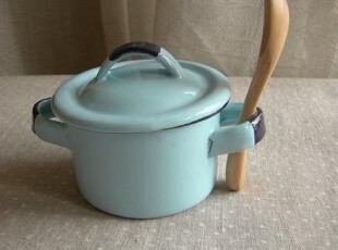 日单尾货 蓝色搪瓷双把手儿童小汤碗 厨用带盖小收纳碗 矮款,碗盆,