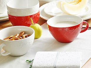 樱桃 浮雕 陶瓷 情侣杯 早餐杯 麦片杯 2色,碗盆,