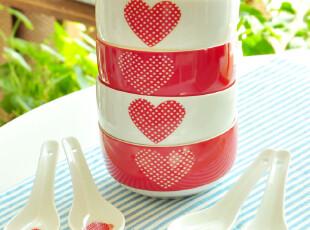 lOVE系列爱心餐具4碗4勺套装/七夕节必败礼物,碗盆,