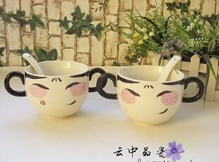 日式和风卡通陶瓷餐具骨瓷大汤碗虚空歌姬娘娘发环双耳拉面杯饭碗,碗盆,