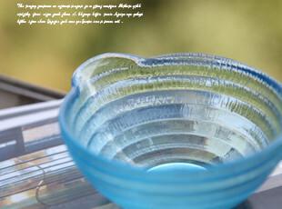 清凉一夏蓝色螺纹玻璃碗 饭碗 瓜子碗 沙拉碗 糖果碗 婴儿碗,碗盆,