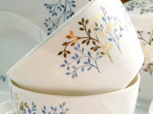 56头超A级骨瓷 烫金 摇钱树 骨瓷餐具 外方内园 单碗,碗盆,
