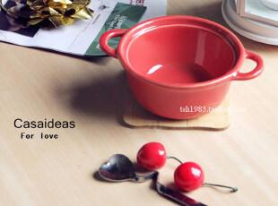 【casaideas】双耳陶瓷烘焙碗 汤碗 汤盅 水果碗 布丁碗 4寸,碗盆,