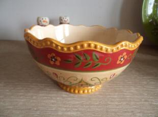 外贸陶瓷 欧美原单 品牌手绘 花边 奢华 高脚 波浪边 零食创意碗,碗盆,