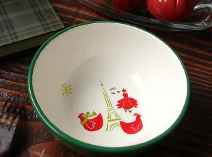 【A grass】外贸陶瓷出口餐具手绘稚气可爱风格小鸟与铁塔餐碗!,碗盆,