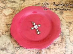 满150包邮 魅力酒红 复古做旧 圆盘 外贸陶瓷,碗盆,