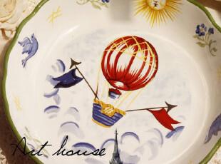 出口欧美 手绘陶瓷菜盆 西餐盘 菜盘 盘子 外贸出口余单,碗盆,