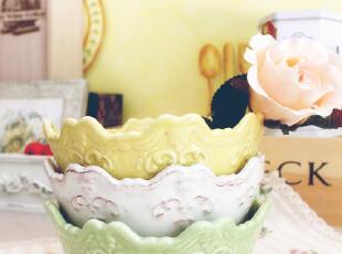 珍藏款巴黎香颂 法式优雅 洛可可浮雕 平底碗 果盘  外贸陶瓷,碗盆,