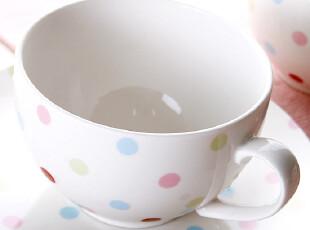 『韩国进口家居』R952 漂亮彩色点点抗菌陶瓷牛奶燕麦杯,碗盆,