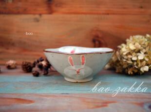 Bao ZAKKA 杂货 日式 和风手绘 胡萝卜兔子 弧边 碗,碗盆,