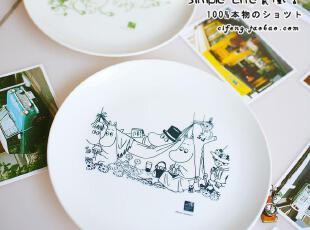 日单 Moomin!姆明谷 超可爱创意日式餐具餐盘\菜盘子\汤盘 大号,碗盆,