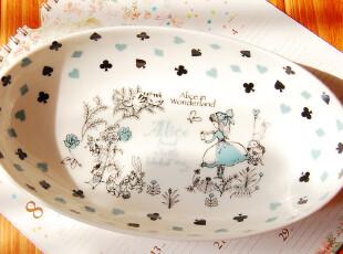 ZM日本森系ZAKKA杂货店-蓝色椭圆型爱丽丝陶瓷碗日本制,碗盆,