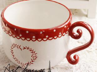 出口欧美星巴克风浮雕红白单把汤碗 面碗 饭碗 面条碗 外贸陶瓷碗,碗盆,