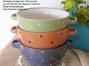 【有爱小铺】 zakka杂货 家居 出口 波点双耳陶瓷 饭碗汤碗 10色,碗盆,