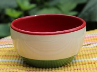 【A grass特价】外贸手绘陶瓷绿条纹小号餐碗、调料碗,碗盆,