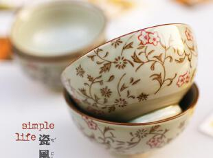 日韩青花瓷纹古朴圆碗陶瓷器碗米饭碗大窑烧日式和风四件套装餐具,碗盆,