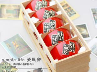 日本外贸原单大红吉祥平安陶瓷器碗/米饭碗日式和风五件套装餐具,碗盆,