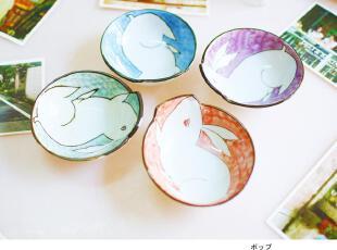 卡通创意四色兔子造型彩色碗套装,碗盆,