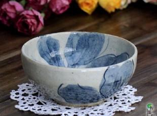 日本 进口 古染 青花 手绘 大轮叶 陶瓷 碗 米饭碗 瓷碗 小碗,碗盆,