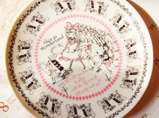 ZM日本森系ZAKKA杂货店-粉色爱丽丝陶瓷盘子L号日本制,碗盆,