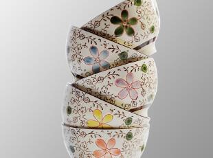 特价景德镇陶瓷 景辰 日式和风陶瓷碗 樱花5色碗 手绘碗瓷1只,碗盆,
