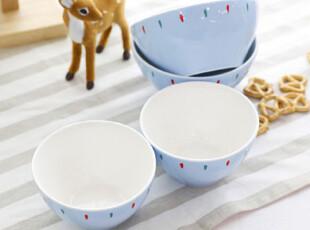 『韩国进口代购』A222 点彩蓝色珠光抗菌陶瓷情侣饭碗4P,碗盆,