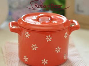可爱小花双耳小锅 烤碗 布丁碗 炖盅 烘焙 陶瓷 外贸出口,碗盆,