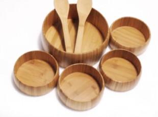 餐饮用具 竹制沙拉碗 竹碗 竹制品 竹叉勺 大竹碗 小竹碗五件套,碗盆,