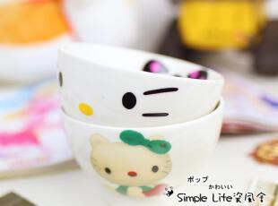 日本外贸原单HELLO KITTY 纪念款高脚陶瓷器套装米饭碗泡面碗,碗盆,