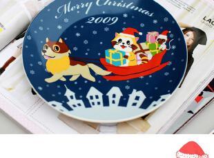 2009欧式出口外贸原单KFC定制圣诞节彩绘骨瓷陶瓷器盘子碟子餐具,碗盆,